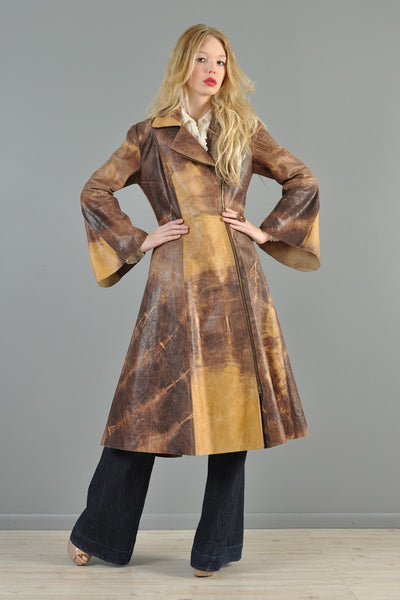 Norma Kamali Tie Dye Leather Zippered Jacket