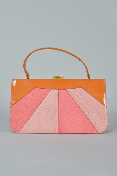 Patent Leather + Snakeskin Sunburst Purse