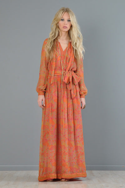 Treacy Lowe 70s Silk Ethnic Maxi Gown