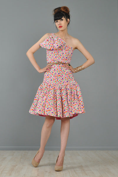 Oscar De La Renta Polkadot One Shoulder Dress