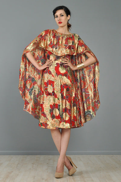 Silk Brocade Cape-Backed 1960s Cocktail Dress