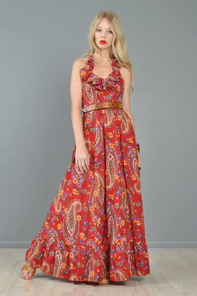 Neiman Marcus Cotton Bohemian Ruffled Maxi Dress