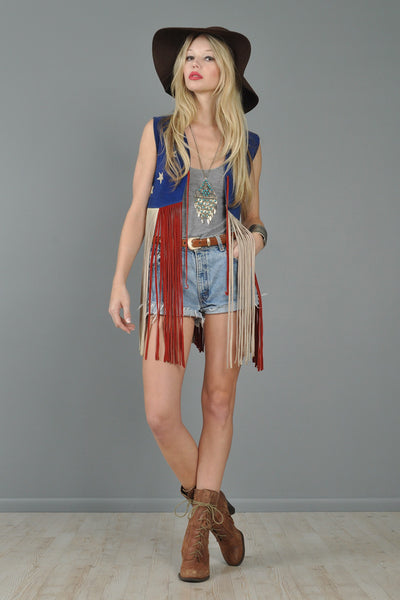 American Flag Suede 1970s Suede Fringed Vest