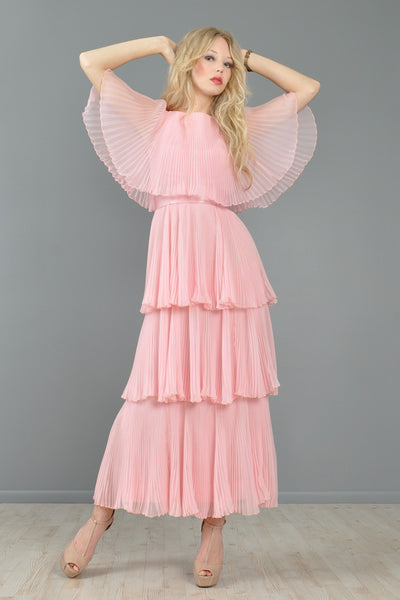 Richilene Grecian Tiered Pleated Maxi Dress