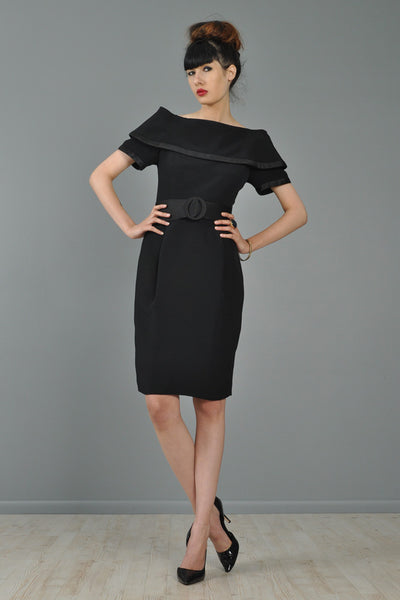 Scaasi 1980s Off The Shoulder Little Black Dress