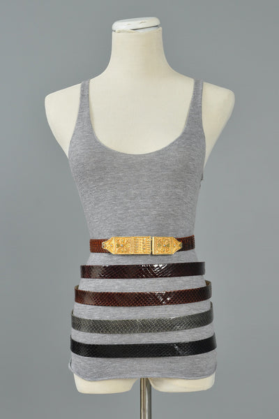 5-in-1 Snakeskin Belt Set with Ethnic Buckle