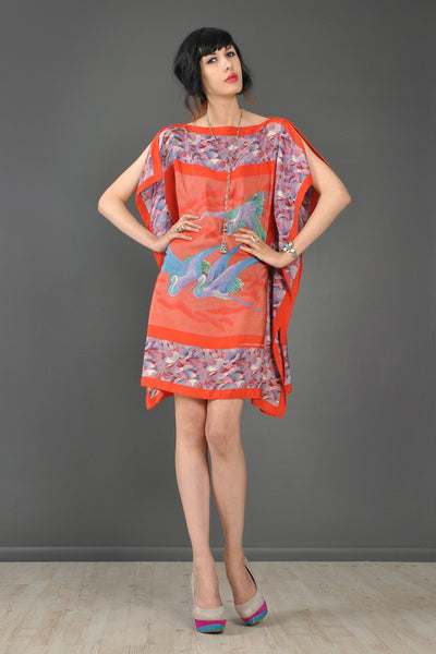 Stephen Burrows Silk Crane Scarf Dress