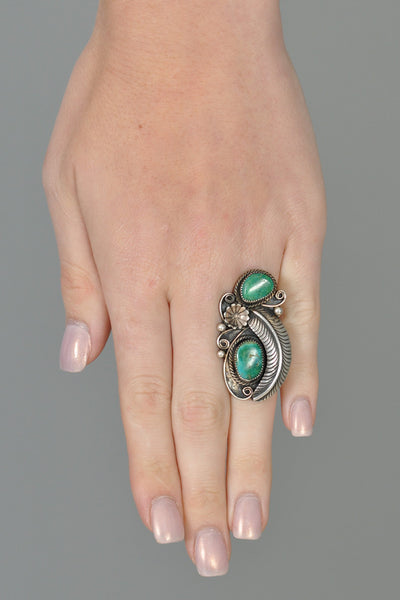 Sterling Silver Malachite Navajo Ring