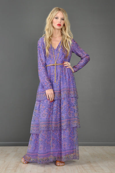 Treacy Lowe Tiered Silk India Maxi Dress