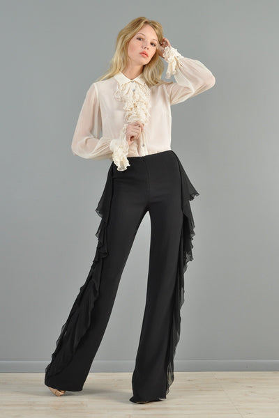 Valentino High Waisted Silk Ruffle Pants