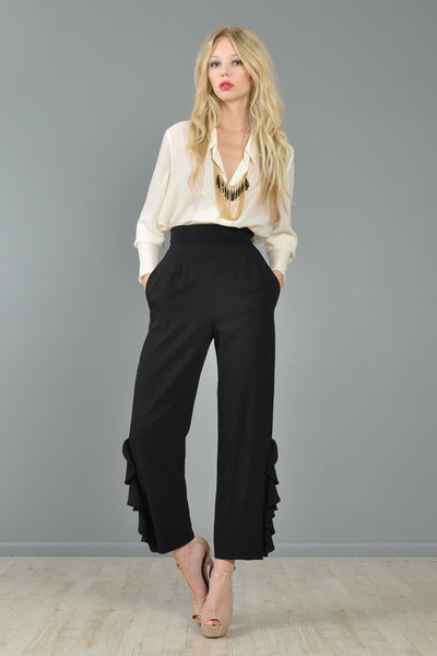 Valentino High-Waisted Ruffle Trousers