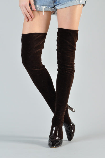 Valentino Velvet Stretch Thigh-High Boots