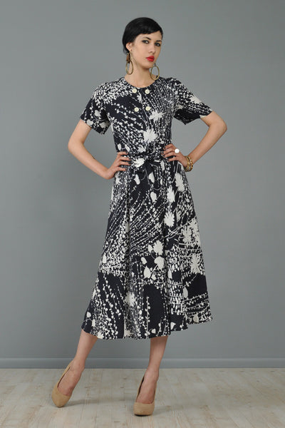 Valentino 1980s Silk Graphic Floral Day Dress