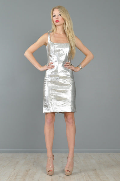 Versace Couture c. 1995 Metallic Silver Python Skin Dress