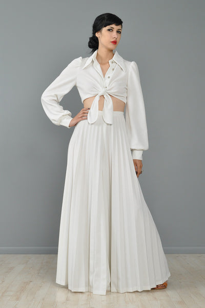 White Pleated Palazzo Pants + Crop Top Ensemble