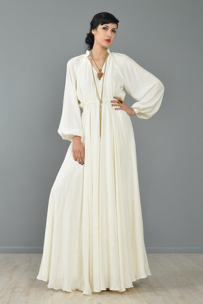 Full Sweep 1970s Blouson Bohemian Wedding Gown
