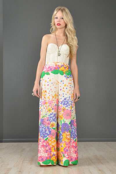 Fresh Spring Florals High-Waisted Palazzo Pants
