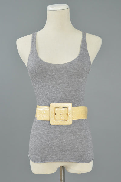 Yves Saint Laurent Cream Snakeskin Belt