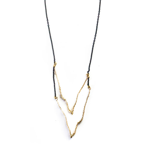Double V Thorned Necklace Brass