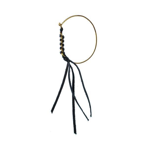 Leather Woven Brass Tension Cuff W Tassel Brass In Black