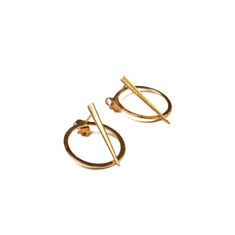 Petite Telson Orbit 2 Part Studs Yellow Gold