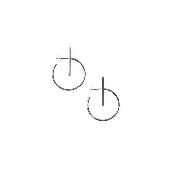 Small Lined Circle Hoops Sterling