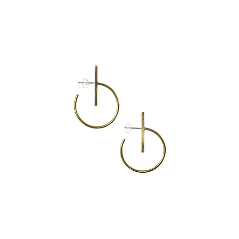 Small Lined Circle Hoops Brass