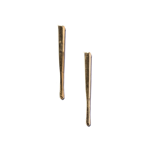 Long Cuarzo Stud Earrings Brass