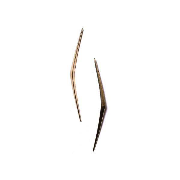 Long Ray Stud Earrings Brass