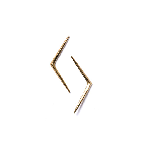 Short Ray Stud Earrings Brass