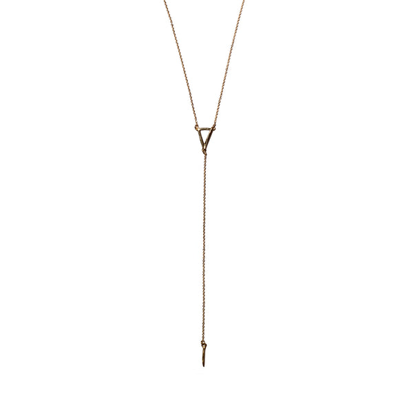 Petite Triangle Y Necklace Yellow Gold