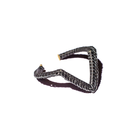 Black Leather Macramé Brass V Cuff