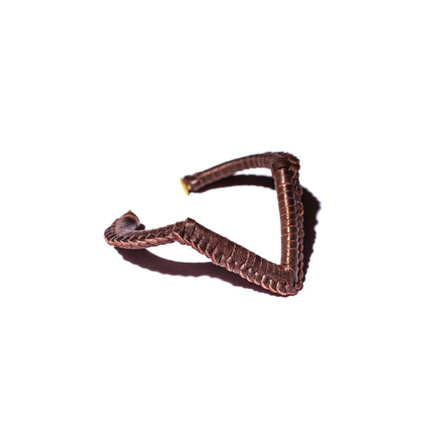 Brown Leather Macramé Brass V Cuff