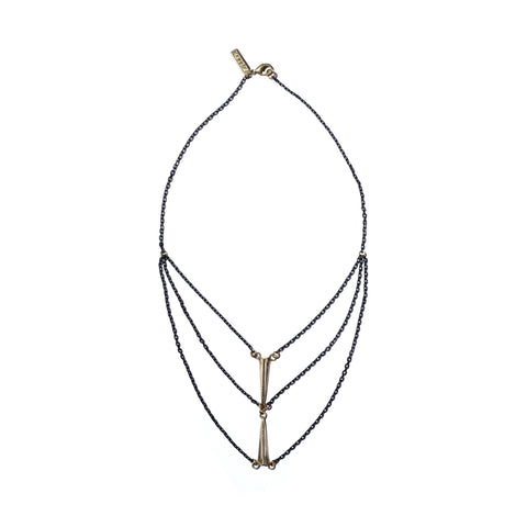 Double Telson Swag Necklace in Brass