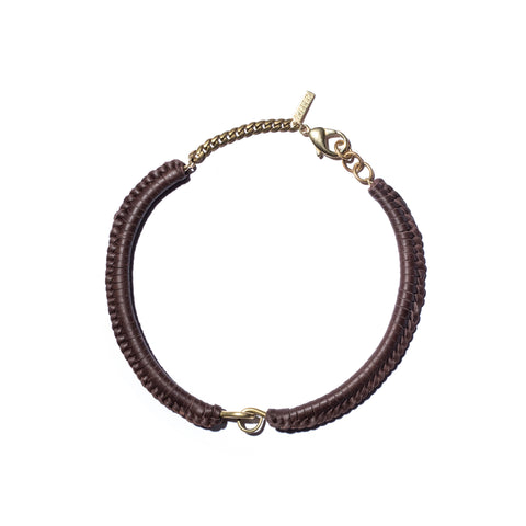 Brown Leather Macramé Brass Hinge Choker