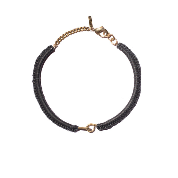 Black Leather Macramé Brass Hinge Choker