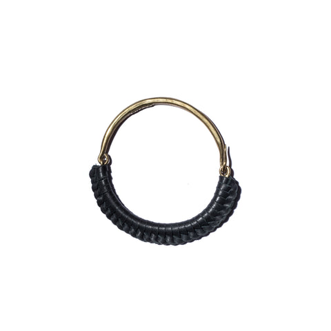 Black Leather Macramé Brass Hinge Cuff