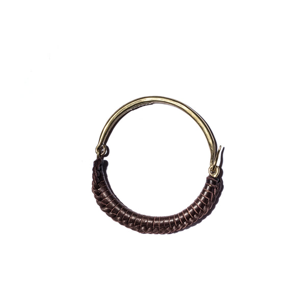 Brown Leather Macramé Brass Hinge Cuff