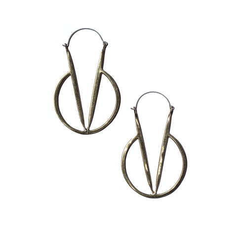 Flying V Drop Earrings in Brass