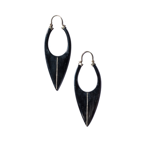 Blade Horn Earrings Yellow Gold Inlay