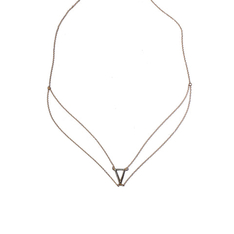 Petite Triangle Swag Necklace Yellow Gold