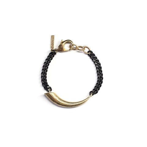 Petite Smooth Horn Bracelet Brass
