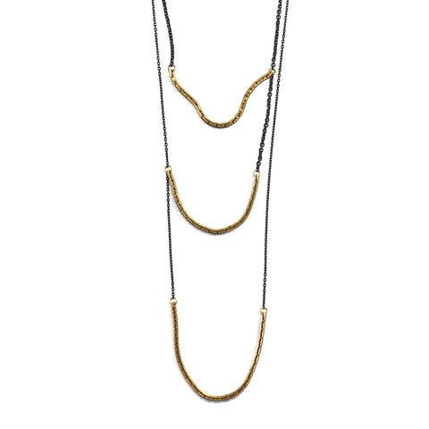 3 Tiered Boston Chain Link Necklace Brass