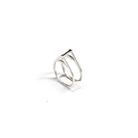 Double Tri Ring Sterling