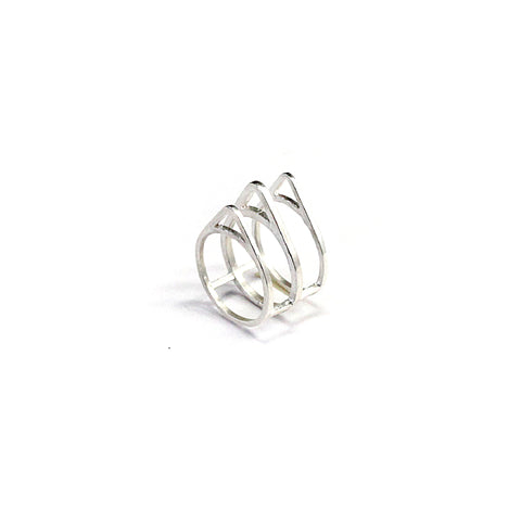 Triple Tri Ring Sterling