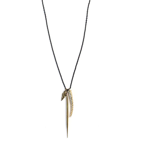 Scaled Tail Mutli Charm Necklace Brass