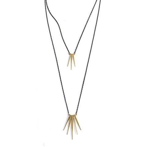 2 Tiered Quill Burst Necklace Brass