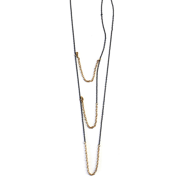 Small 3 Tiered Chain Necklace Brass