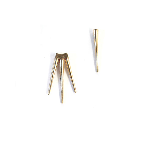 Single Spike / Small Quill Burst Earrings Brass