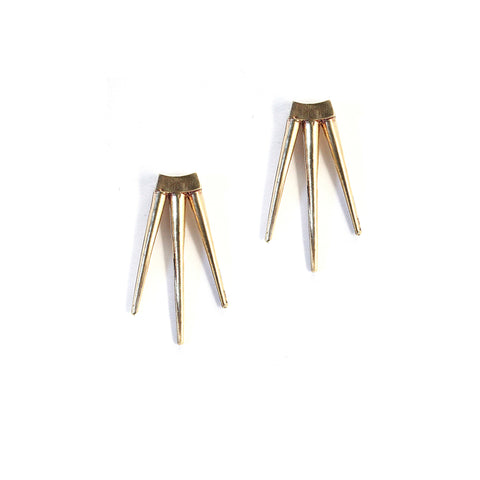 Small Quill Burst Earrings Brass
